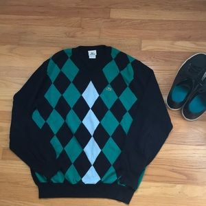 Lacoste V-neck argyle sweater